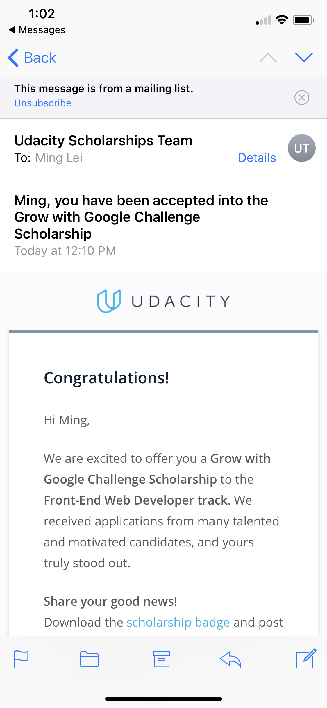 E-mail from Udacity.