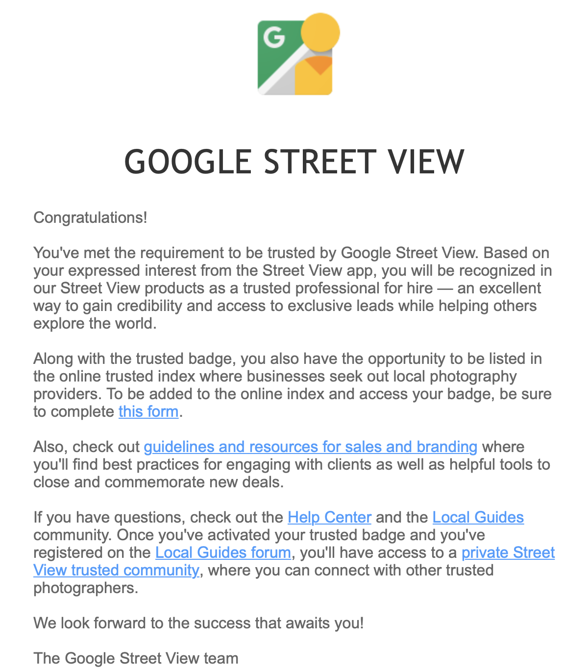 Letter from Google.