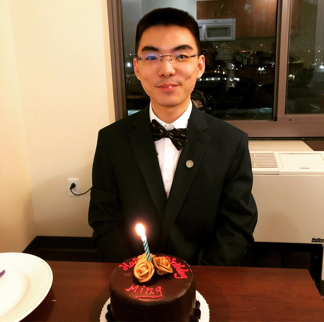 popoway's roommate gave him a surprise — a personalized chocolate cake.