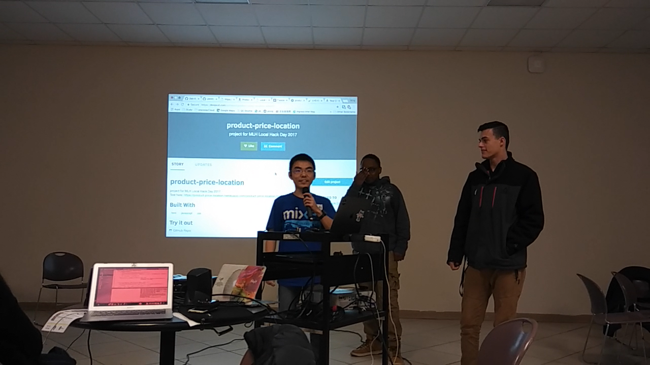 "popoway and team members were introducing their projects called ""product-price-location""."